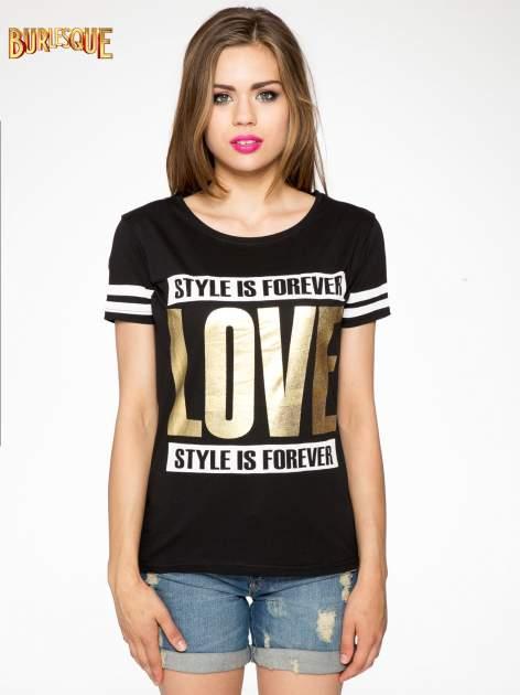 Czarny t-shirt ze złotym napisem LOVE                                  zdj.                                  11
