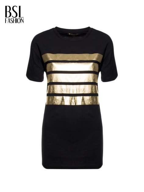 Czarny t-shirt ze złotymi pasami w stylu glamour                                  zdj.                                  2