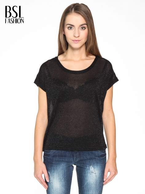 Czarny transparentny t-shirt przeplatany srebrną nicią                                  zdj.                                  1