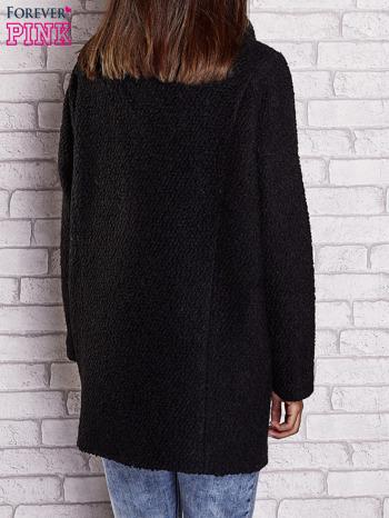 Czarny wełniany płaszcz z kieszeniami i dużym kołnierzem                                  zdj.                                  4