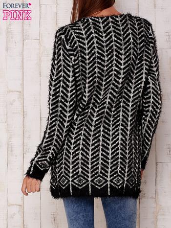 Czarny wełniany sweter z kieszeniami                                  zdj.                                  4