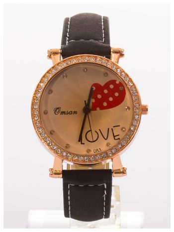 Czarny zegarek damski na skórzanej bransolecie
