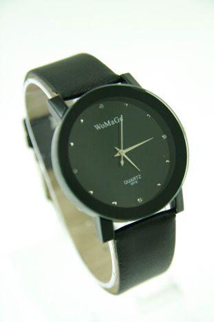 Czarny zegarek damski z cyrkoniami na skórzanym pasku