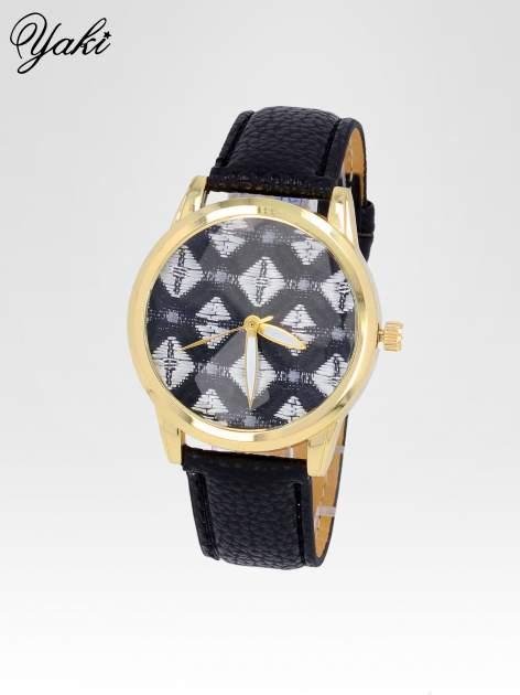 Czarny zegarek damski ze złotą kopertą i etno tarczą                                  zdj.                                  2