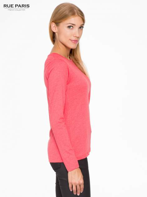 Czerwona basicowa bluzka z długim rękawem                                  zdj.                                  3