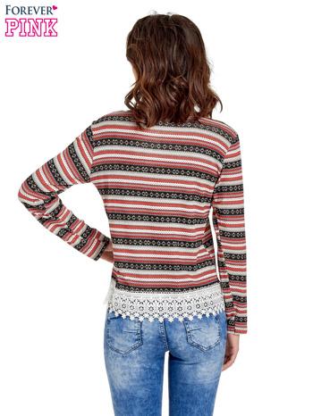 Czerwona bluza w azteckie wzory z koronką                                  zdj.                                  4