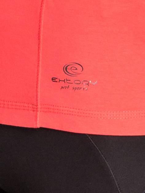 Czerwona bluzka sportowa z dekoltem V                                  zdj.                                  4