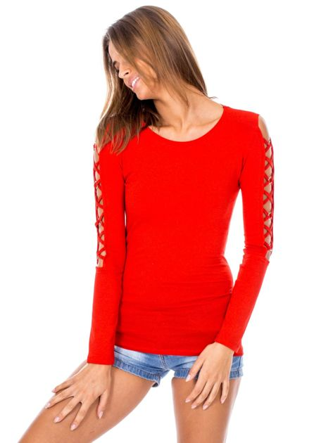 Czerwona bluzka z ozdobną plecionką na rękawach                              zdj.                              5