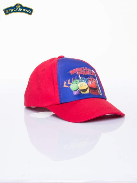Czerwona chłopięca czapka z daszkiem STACYJKOWO                                  zdj.                                  2