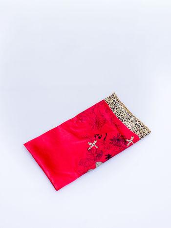 Czerwona chusta apaszka z pasem w cętki panterki                                  zdj.                                  3