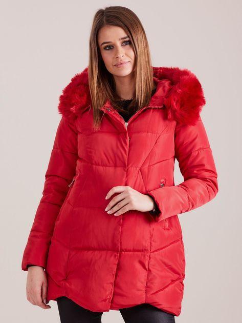 Czerwona damska kurtka zimowa                              zdj.                              1