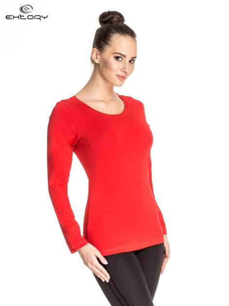 Czerwona gładka bluzka sportowa z dekoltem U PLUS SIZE                                  zdj.                                  3