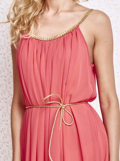 Czerwona grecka sukienka ze złotym paskiem                                  zdj.                                  5