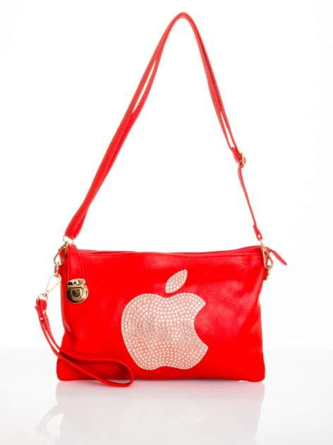Czerwona kopertówka z dżetami motyw apple                                  zdj.                                  3