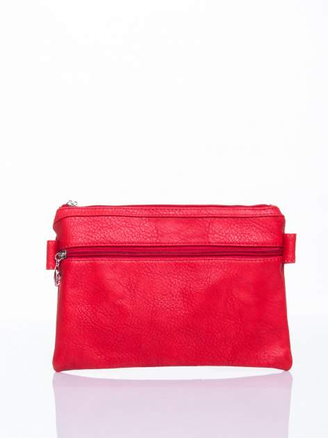 Czerwona kopertówka z dżetami motyw sowy                                  zdj.                                  4