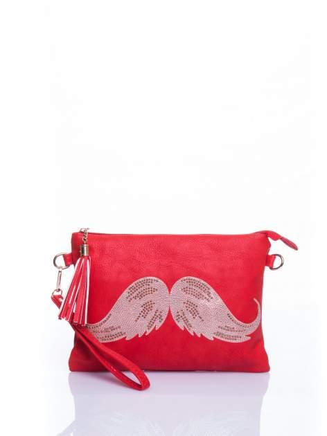 Czerwona kopertówka z dżetami motyw wąsów