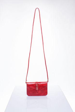 Czerwona kopertówka z motywem skóry krokodyla                                  zdj.                                  4
