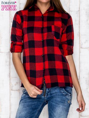 Czerwona koszula w kratę z kieszonką                              zdj.                              1