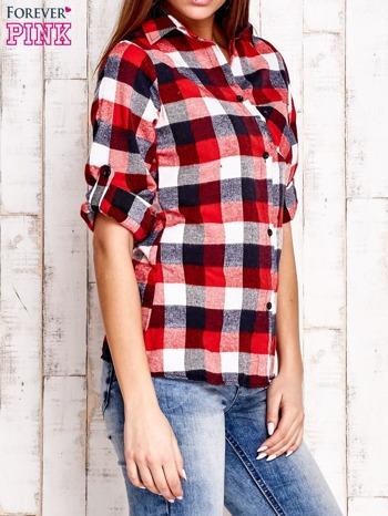 Czerwona koszula w kratę z kieszonką                                  zdj.                                  3