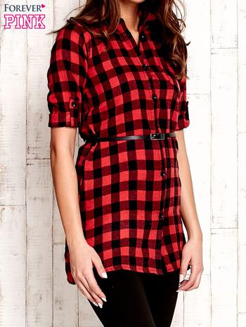 Czerwona koszula w kratę z paskiem                                  zdj.                                  3