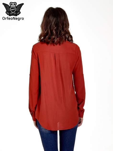 Czerwona koszula z haftowanym kołnierzykiem                                  zdj.                                  4