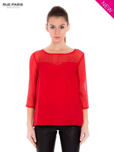 Czerwona koszula z przezroczystym materiałem w groszki                                  zdj.                                  2