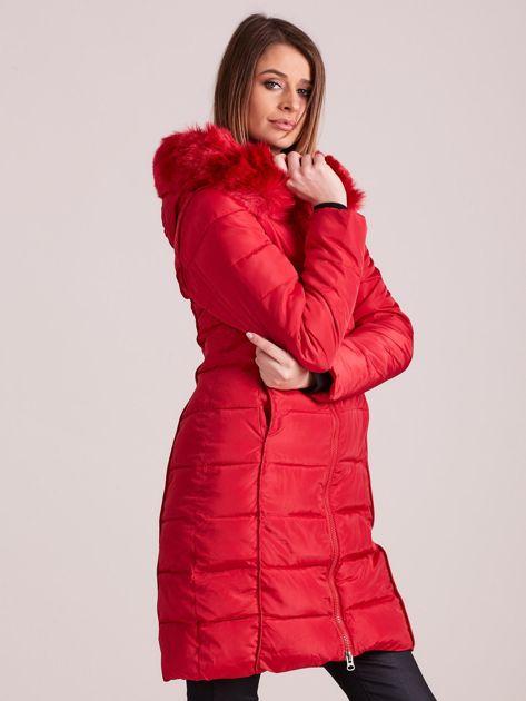Czerwona pikowana damska kurtka zimowa                               zdj.                              5