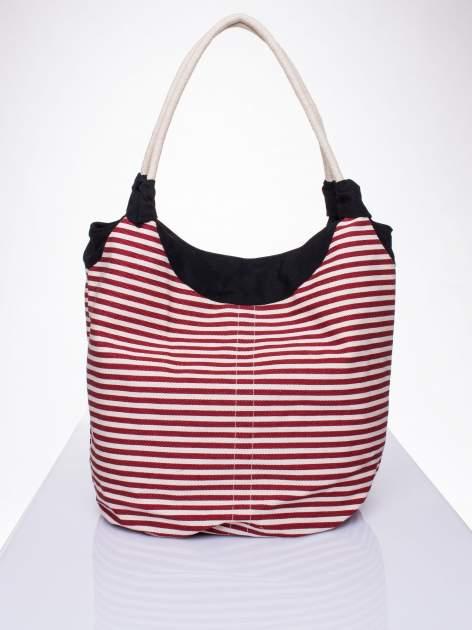 Czerwona plażowa torba hobo w paski na sznurku                                  zdj.                                  1
