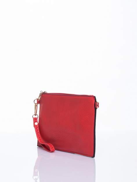 Czerwona prosta przewieszana torebka z uchwytem                                  zdj.                                  3