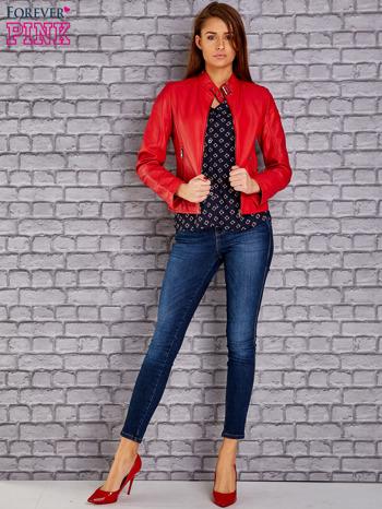 Czerwona skórzana kurtka o klasycznym kroju                                  zdj.                                  4