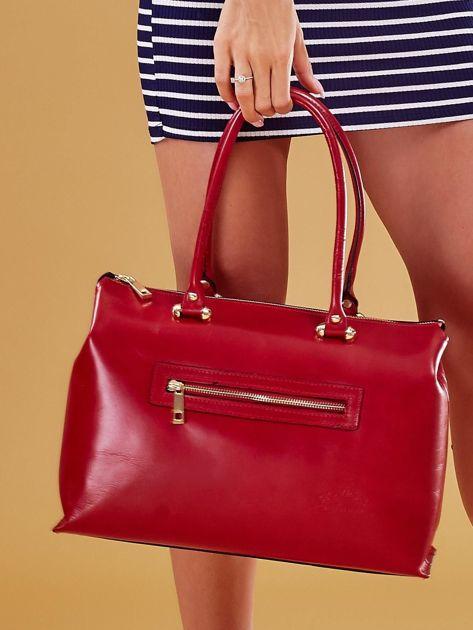 Czerwona skórzana torba damska kuferek                              zdj.                              7