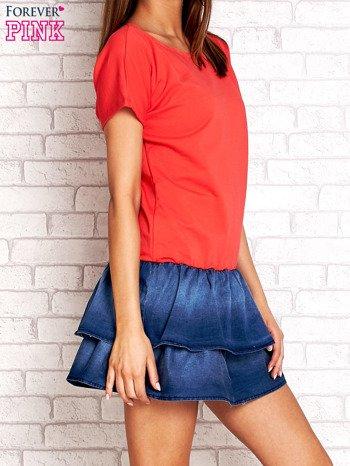 Czerwona sukienka dresowa z jeansowym dołem                                  zdj.                                  3