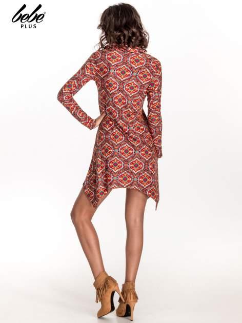 Czerwona sukienka etno z łączonych materiałów                                  zdj.                                  3