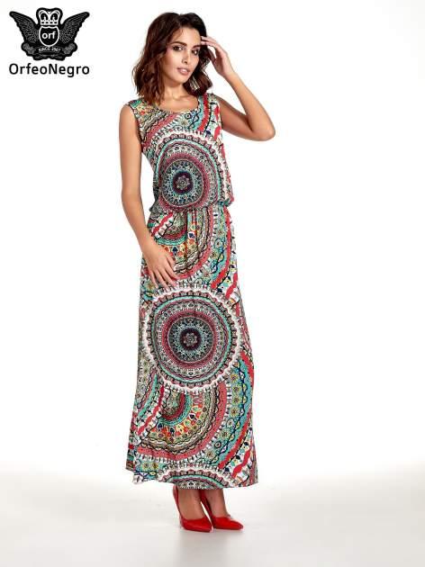 Czerwona sukienka maxi w etniczne wzory                                  zdj.                                  4
