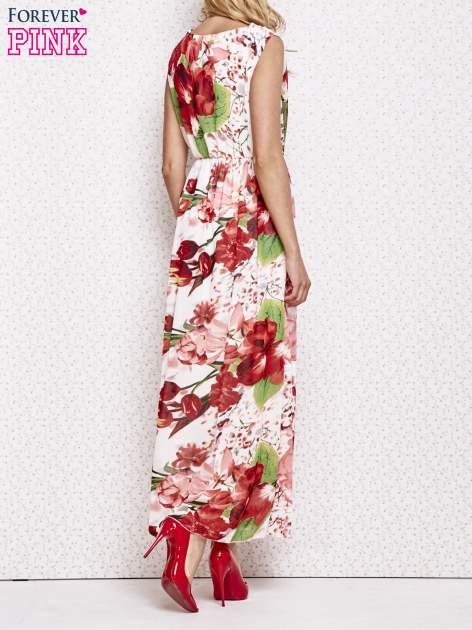 Czerwona sukienka maxi w kwiaty                                  zdj.                                  2