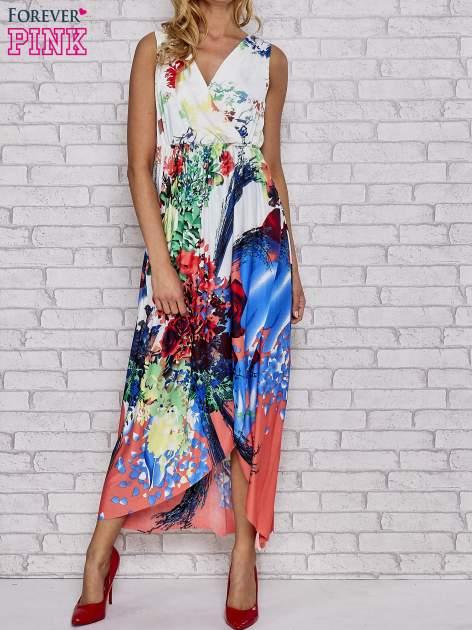 Czerwona sukienka maxi z trójkątnym dekoltem                                  zdj.                                  1