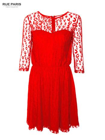Czerwona sukienka pokryta panterkową siateczką                                  zdj.                                  1