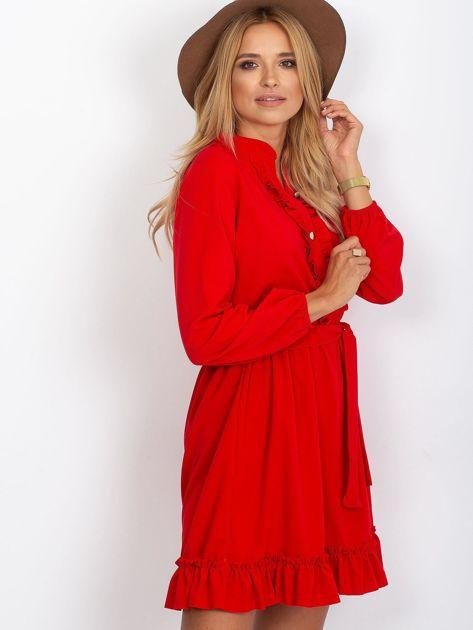 Czerwona sukienka z falbankami                              zdj.                              3