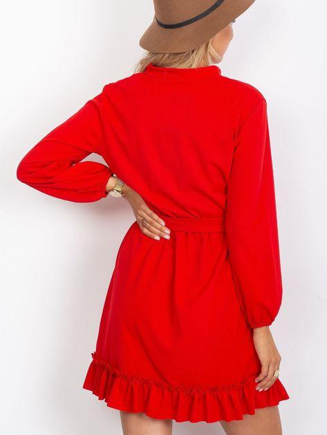 Czerwona sukienka z falbankami                              zdj.                              2