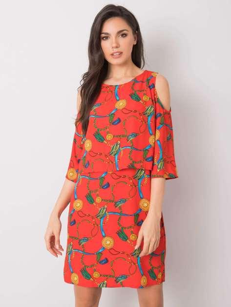 Czerwona sukienka z printami Maresol RUE PARIS