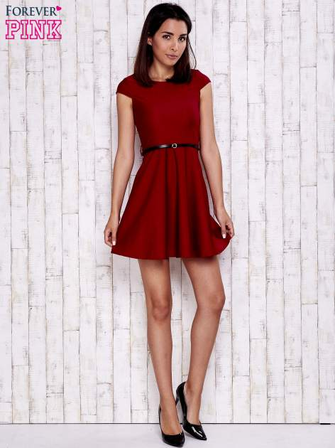 Czerwona sukienka z suwakiem na plecach                                  zdj.                                  4