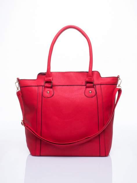Czerwona torba miejska z odpinanym paskiem                                  zdj.                                  1