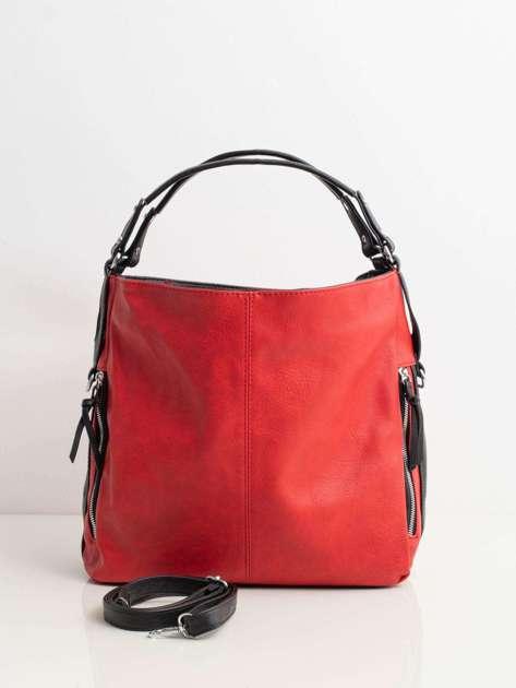 Czerwona torba miejska ze skóry ekologicznej