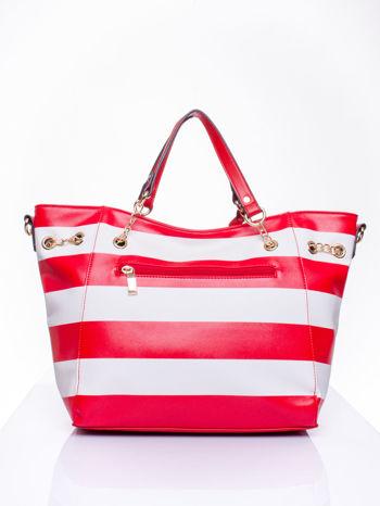 Czerwona torba shopper bag w pasy efekt saffiano                                  zdj.                                  4