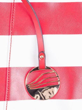 Czerwona torba shopper bag w pasy efekt saffiano                                  zdj.                                  6