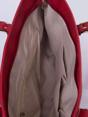 Czerwona torba shopper bag z regulowanymi rączkami                                  zdj.                                  5