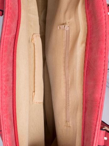 Czerwona torba shopper bag z zawieszką                                  zdj.                                  4