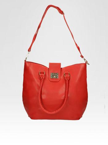 Czerwona torebka city bag z zatrzaskiem                                  zdj.                                  5