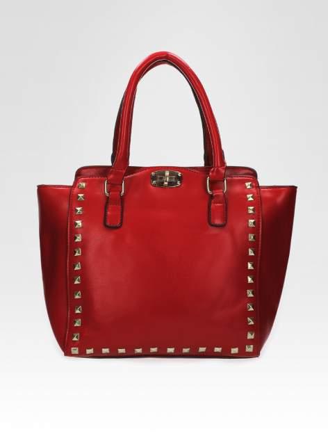 Czerwona torebka na ramię z dżetami                                  zdj.                                  5