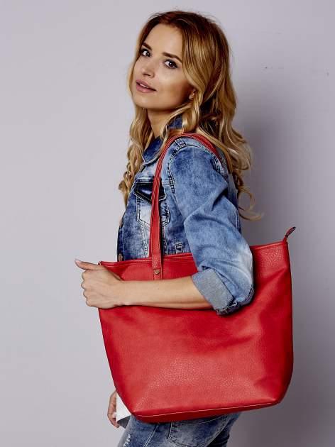 Czerwona torebka shopper bag z kokardką                                  zdj.                                  2